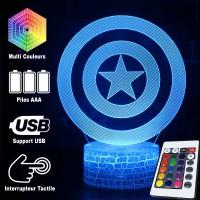 Lampe 3D Bouclier de Captain America caractéristiques