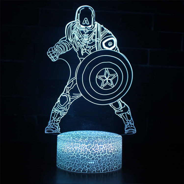 Lampe 3D Captain America en combat