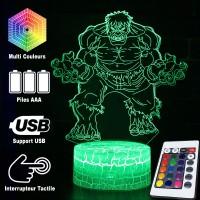 Lampe 3D Hulk caractéristiques