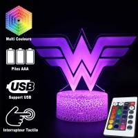 Lampe 3D Wonder Woman logo caractéristiques