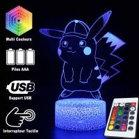 Lampe 3D Pokémon Pikachu casquette caractéristiques