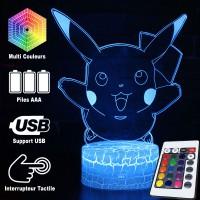 Lampe 3D Pokémon Pikachu heureux caractéristiques