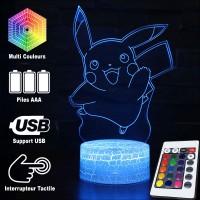 Lampe 3D Pokémon Pikachu qui saute caractéristiques