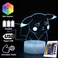 Lampe 3D Pokémon Pikachu triste caractéristiques