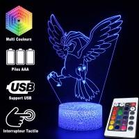 Lampe 3D Pokémon Roucoups caractéristiques