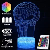 Lampe 3D Punisher Logo, télécommande et caractéristiques