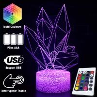 Lampe 3D Illusion d'Optique Diamants, télécommande et caractéristiques