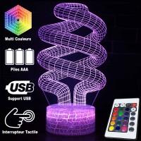 Lampe 3D Illusion d'Optique Spirales, télécommande et caractéristiques