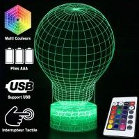 Lampe 3D Illusion d'Optique Bulbe, télécommande et caractéristiques