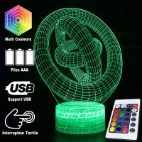 Lampe 3D Illusion d'Optique Cercles, télécommande et caractéristiques