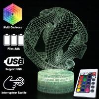 Lampe 3D Illusion d'Optique Boule Serpents, télécommande et caractéristiques