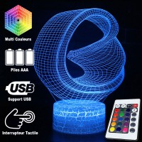 Lampe 3D Illusion d'Optique Looping vrille, télécommande et caractéristiques