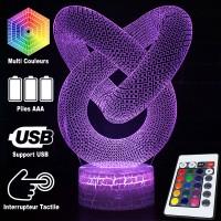 Lampe 3D Illusion d'Optique Tube Infini, télécommande et caractéristiques