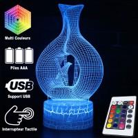 Lampe 3D Illusion d'Optique Vase avec Oiseau, télécommande et caractéristiques