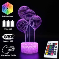 Lampe 3D Illusion d'Optique Ballons, télécommande et caractéristiques