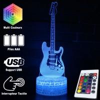 Lampe 3D Musique Guitare électrique, télécommande et caractéristiques