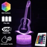 Lampe 3D Musique Guitare acoustique, télécommande et caractéristiques
