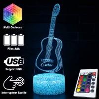 Lampe 3D Musique Guitare acoustique 2, télécommande et caractéristiques
