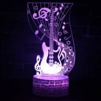 Lampe 3D Musique Guitare électrique et notes