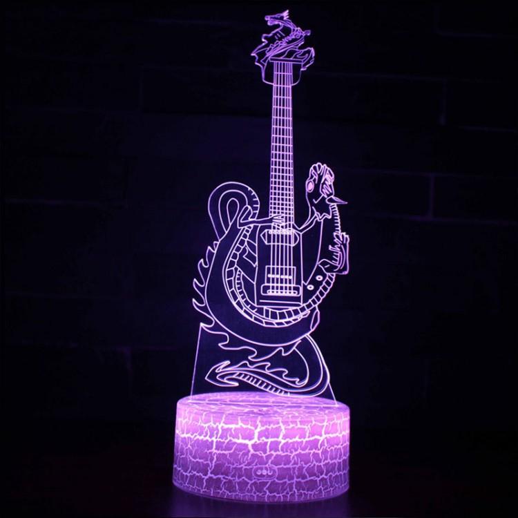 Lampe 3D Musique Guitare électrique Dragon