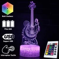 Lampe 3D Musique Guitare électrique Dragon, télécommande et caractéristiques