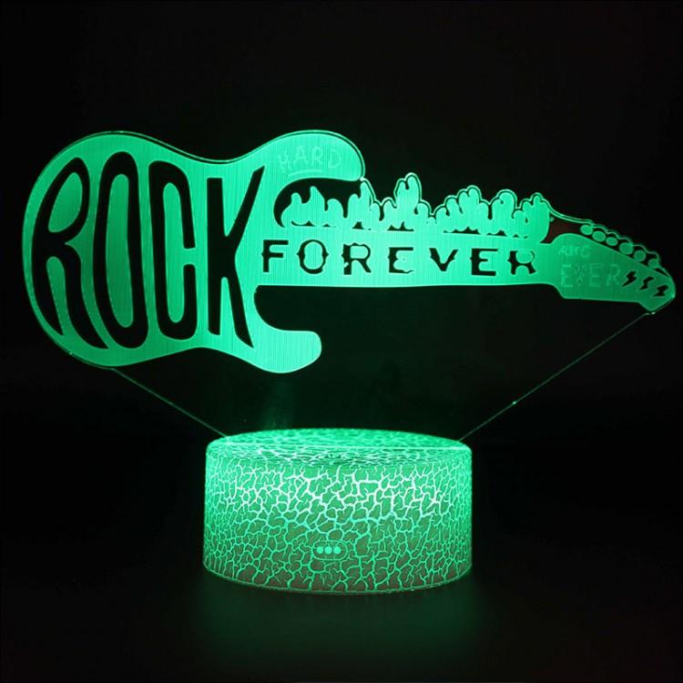 Lampe 3D Musique Guitare électrique Rock Forever