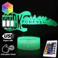 Lampe 3D Musique Guitare électrique Rock Forever, télécommande et caractéristiques