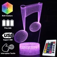 Lampe 3D Musique Notes de musique, Croches, télécommande et caractéristiques
