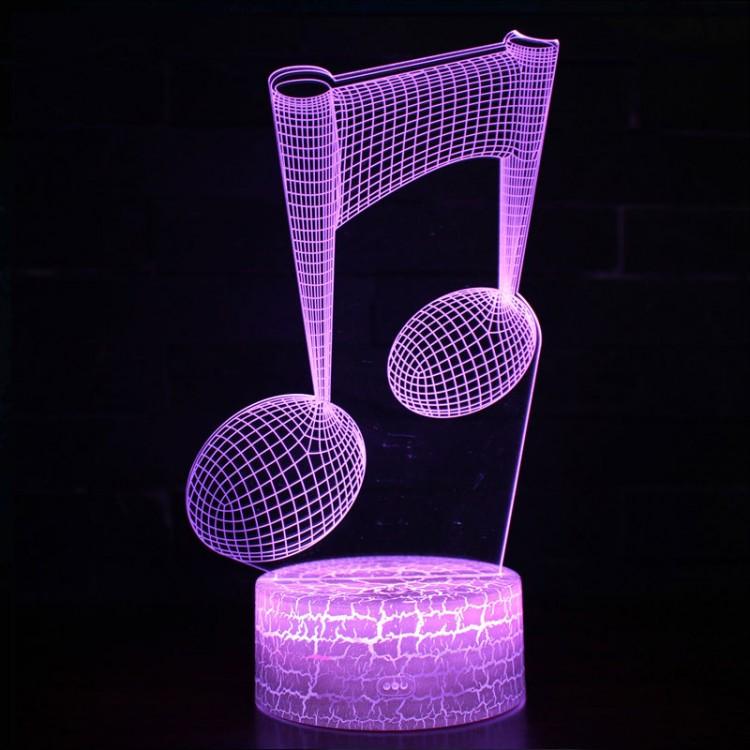Lampe 3D Musique Notes de musique, Croches