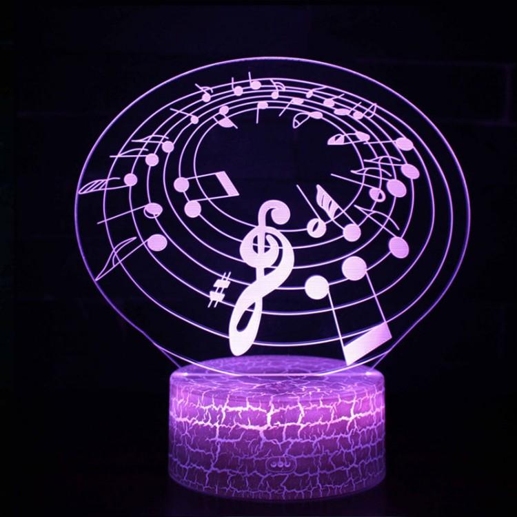 Lampe 3D Musique Notes de musique sur portée en cercle