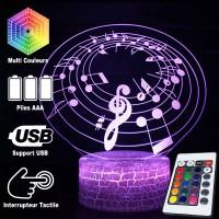 Lampe 3D Musique Notes de musique sur portée en cercle, télécommande et caractéristiques