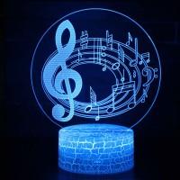 Lampe 3D Musique Notes de musique sur portée en cercle 2