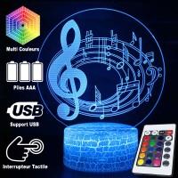 Lampe 3D Musique Notes de musique sur portée en cercle 2, télécommande et caractéristiques