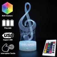 Lampe 3D Musique Clé de Sol et notes, télécommande et caractéristiques