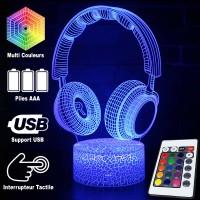Lampe 3D Musique Casque Audio, télécommande et caractéristiques