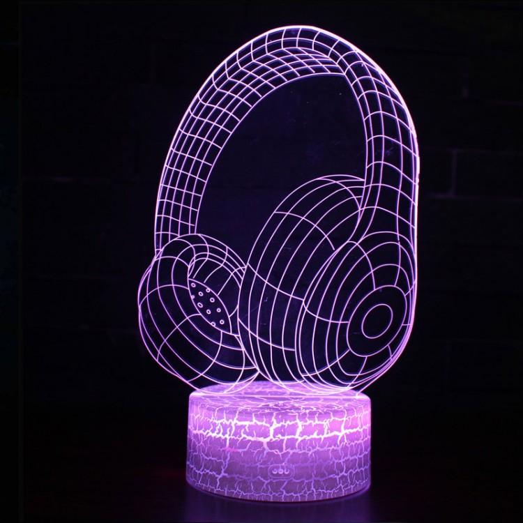 Lampe 3D Musique Casque Audio Design