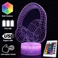 Lampe 3D Musique Casque Audio Design, télécommande et caractéristiques