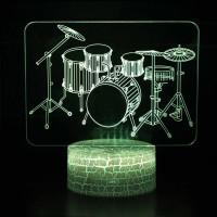 Lampe 3D Musique Batterie Percussions