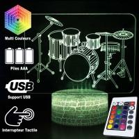 Lampe 3D Musique Batterie Percussions, télécommande et caractéristiques