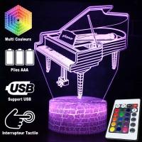 Lampe 3D Musique Piano à queue, télécommande et caractéristiques