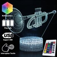 Lampe 3D Musique Trompette, télécommande et caractéristiques