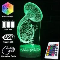 Lampe 3D Musique Cor d'harmonie, télécommande et caractéristiques
