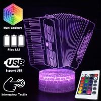 Lampe 3D Musique Accordéon, télécommande et caractéristiques
