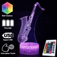 Lampe 3D Musique Saxophone, télécommande et caractéristiques