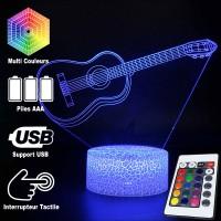 Lampe 3D Musique Guitare classique, télécommande et caractéristiques