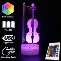 Lampe 3D Musique Violon et Archet, télécommande et caractéristiques
