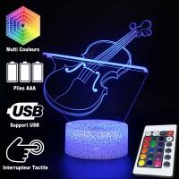 Lampe 3D Musique Violon et Archet 2, télécommande et caractéristiques