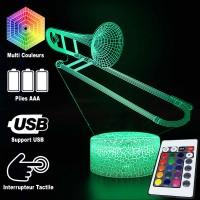 Lampe 3D Musique Trombone, télécommande et caractéristiques