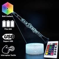 Lampe 3D Musique Clarinette, télécommande et caractéristiques