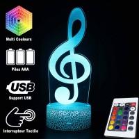 Lampe 3D Musique Clé de Sol, télécommande et caractéristiques